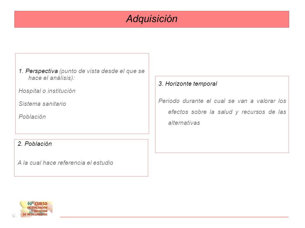 Adquisición 1. Perspectiva (punto de vista desde el que se hace el análisis): Hospital o institución.