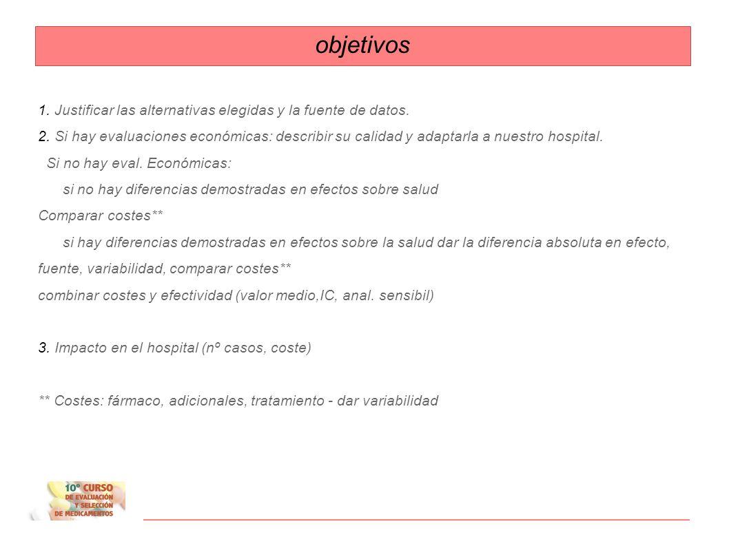 objetivos 1. Justificar las alternativas elegidas y la fuente de datos.