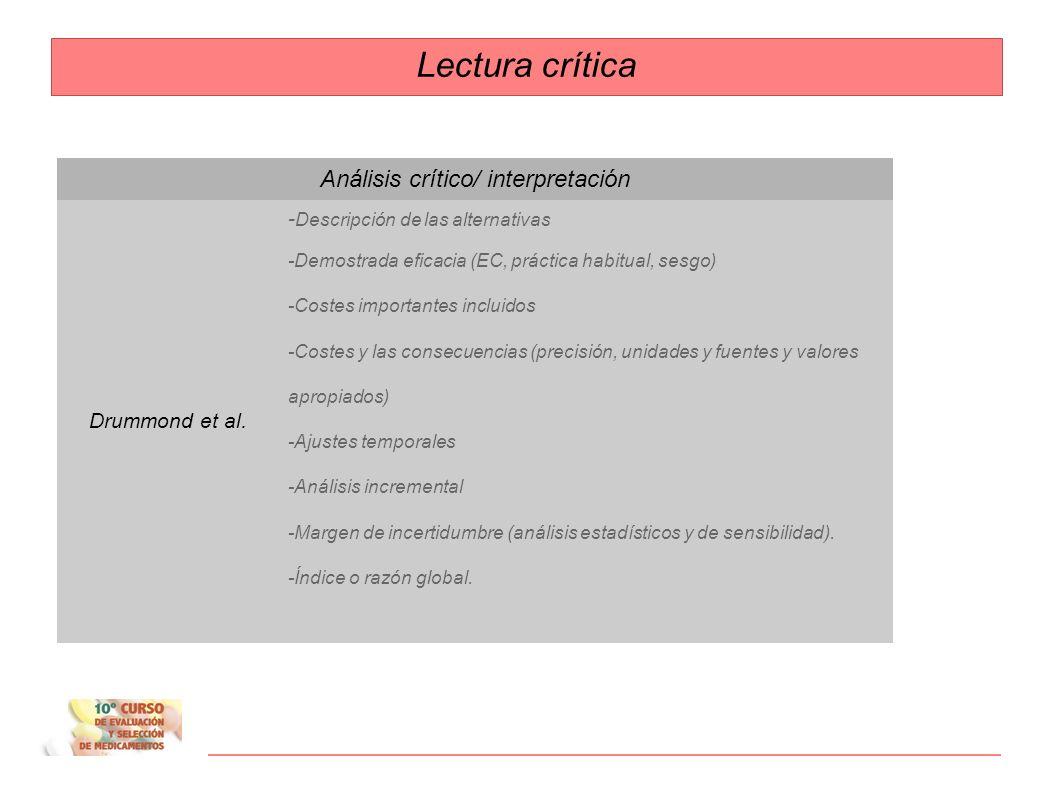 Análisis crítico/ interpretación