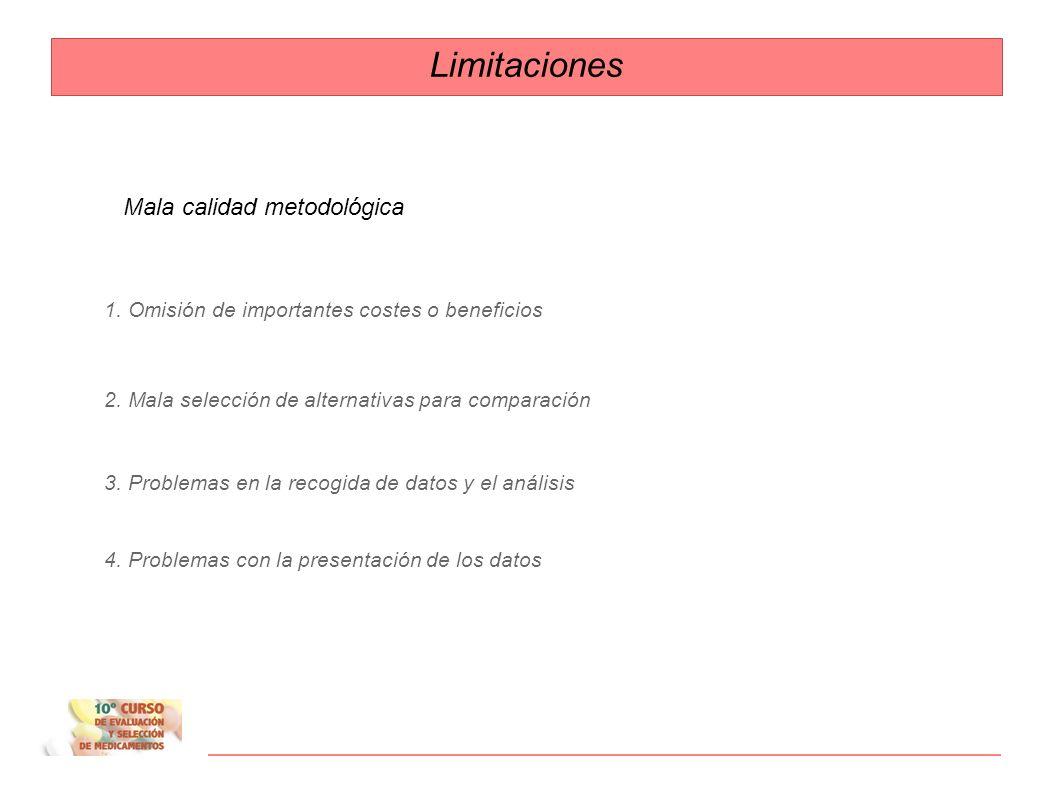 Limitaciones Mala calidad metodológica