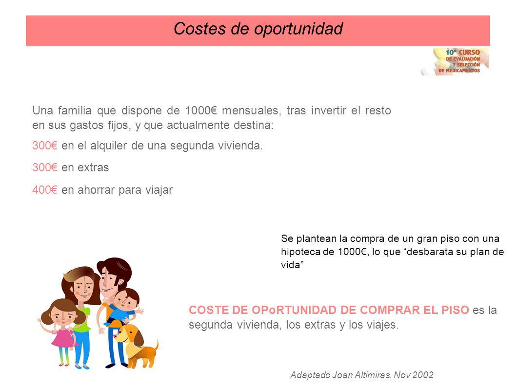 Costes de oportunidad Una familia que dispone de 1000€ mensuales, tras invertir el resto en sus gastos fijos, y que actualmente destina:
