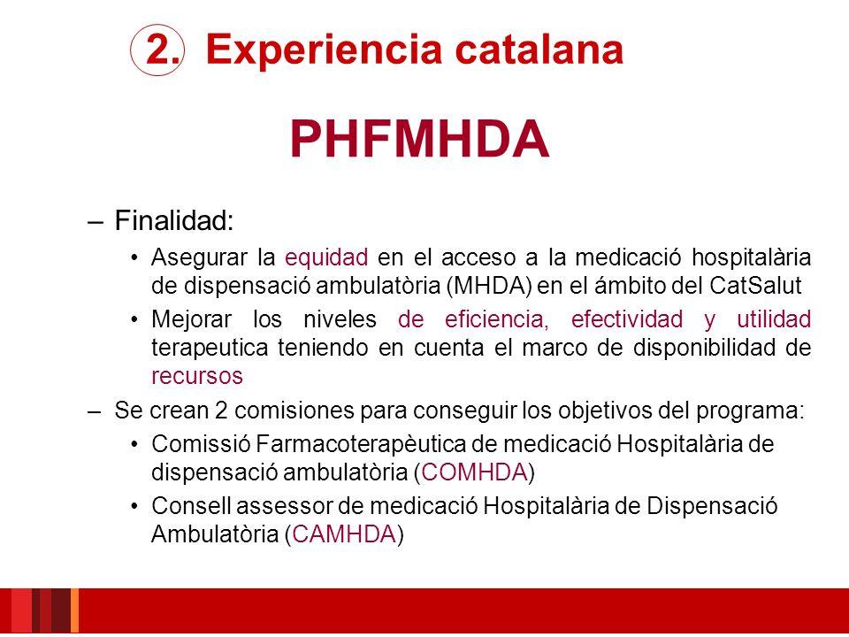 PHFMHDA 2. Experiencia catalana Finalidad: