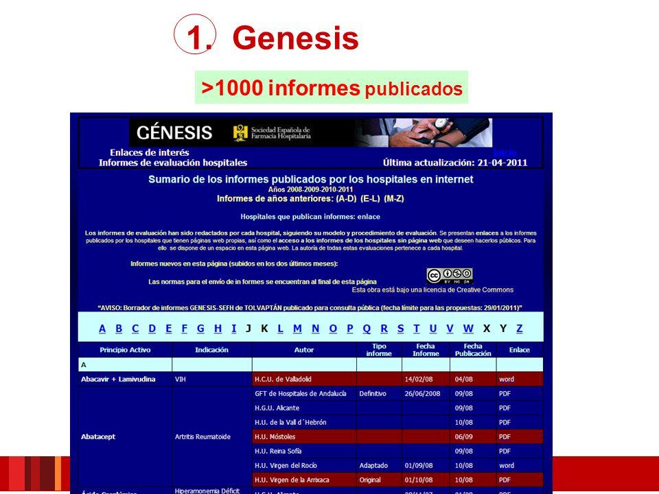 1. Genesis >1000 informes publicados