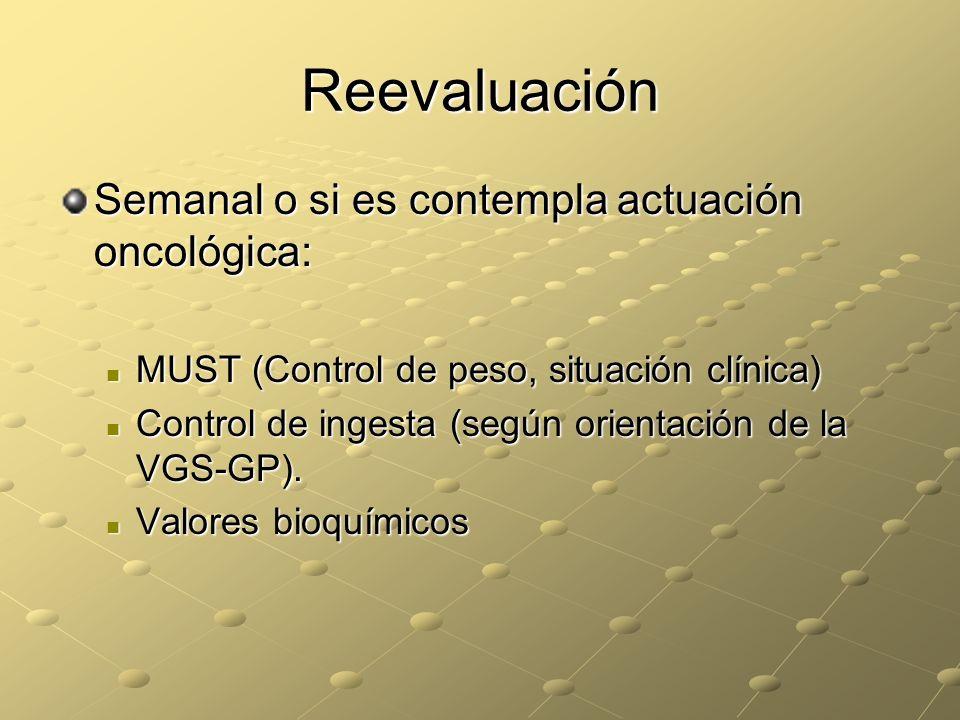 Reevaluación Semanal o si es contempla actuación oncológica: