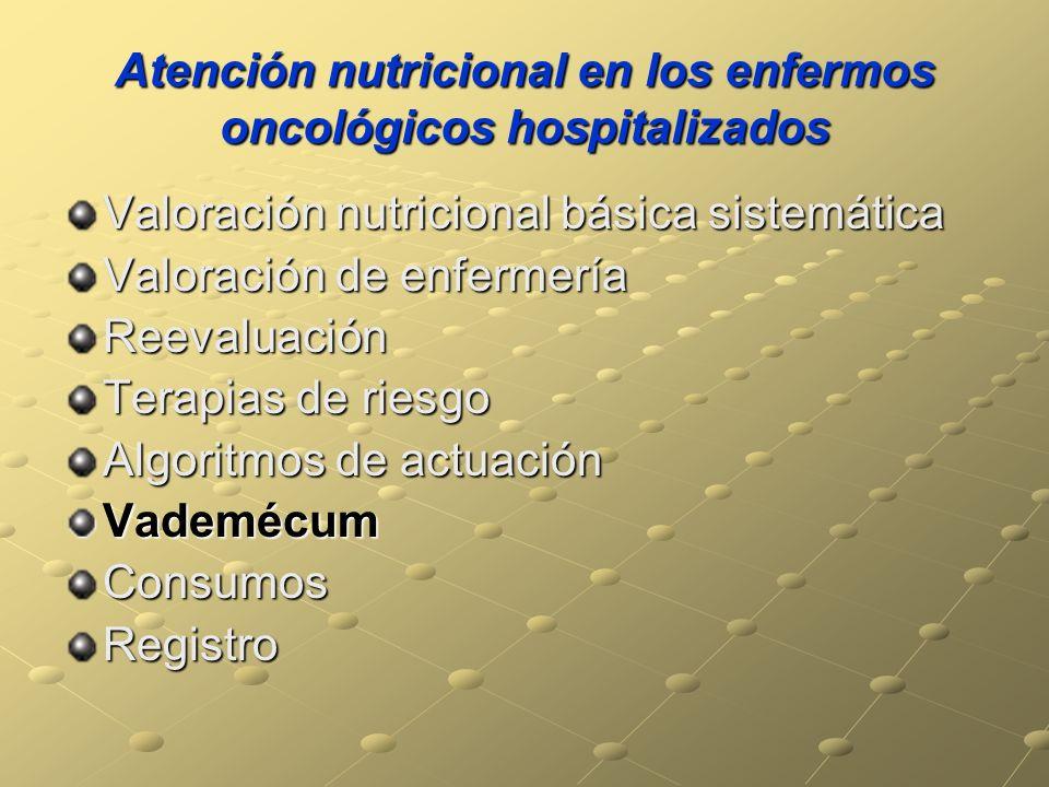 Atención nutricional en los enfermos oncológicos hospitalizados