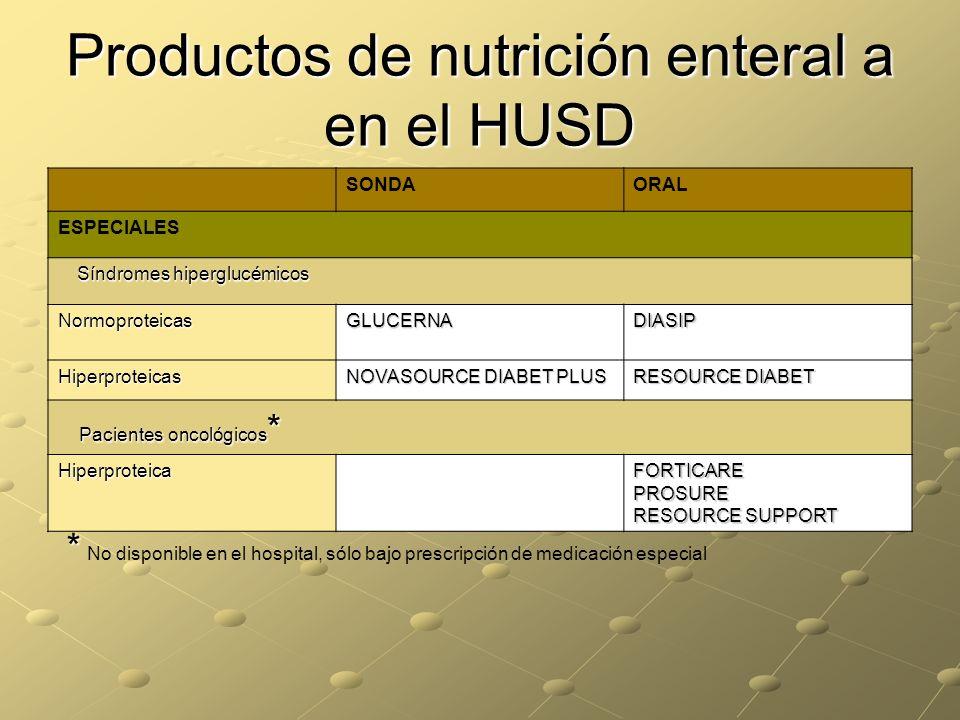 Productos de nutrición enteral a en el HUSD