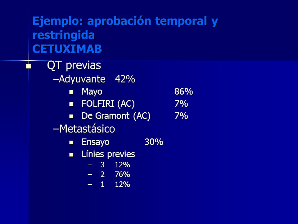 Ejemplo: aprobación temporal y restringida CETUXIMAB