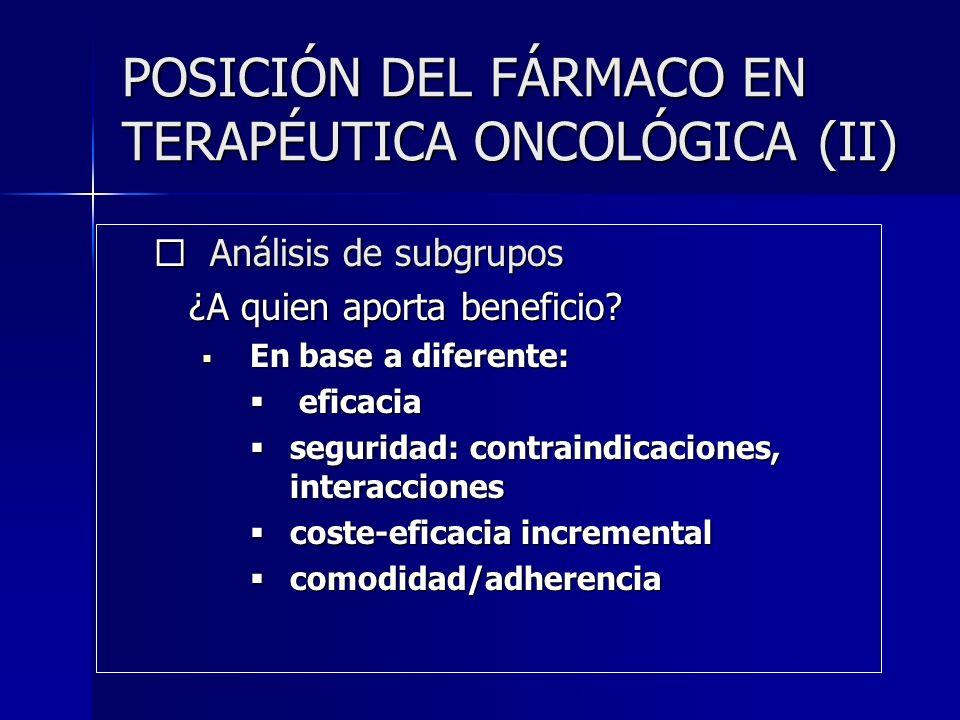 POSICIÓN DEL FÁRMACO EN TERAPÉUTICA ONCOLÓGICA (II)