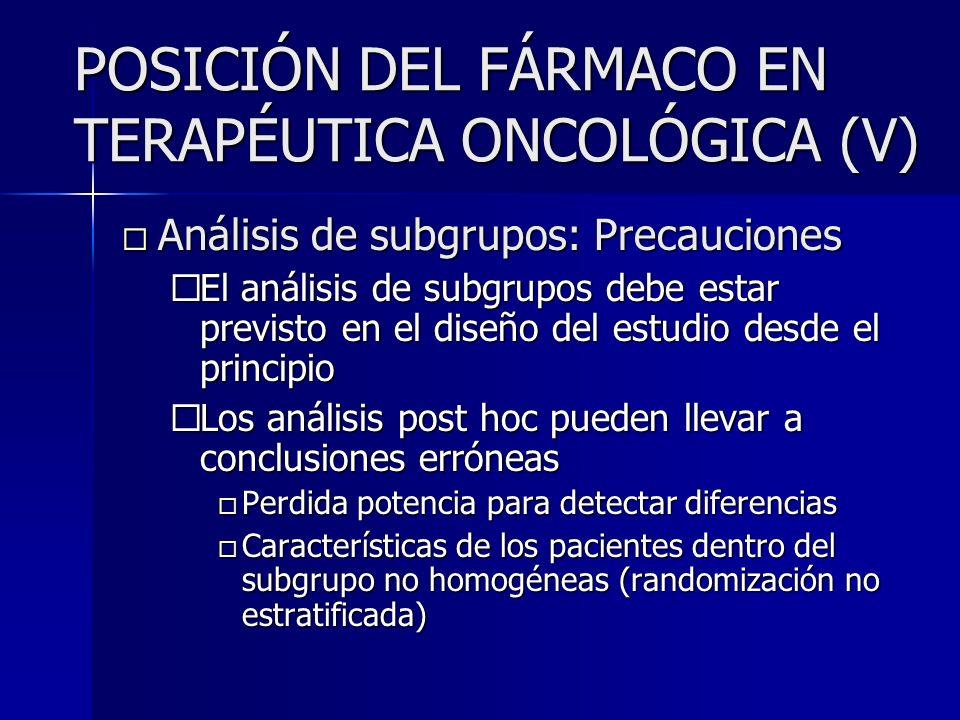 POSICIÓN DEL FÁRMACO EN TERAPÉUTICA ONCOLÓGICA (V)