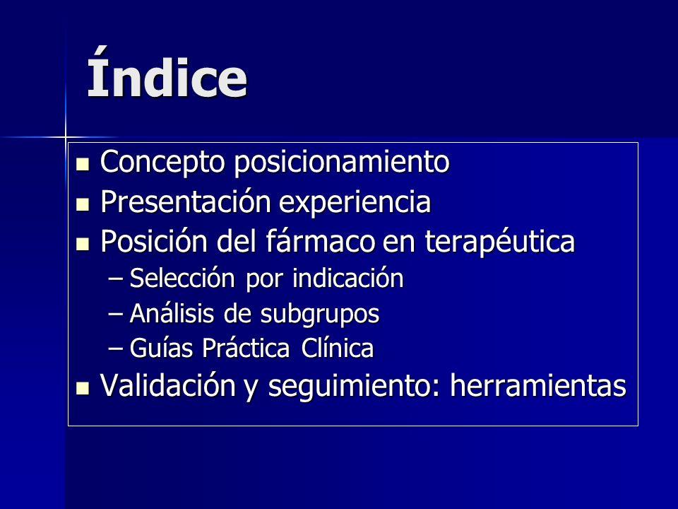 Índice Concepto posicionamiento Presentación experiencia