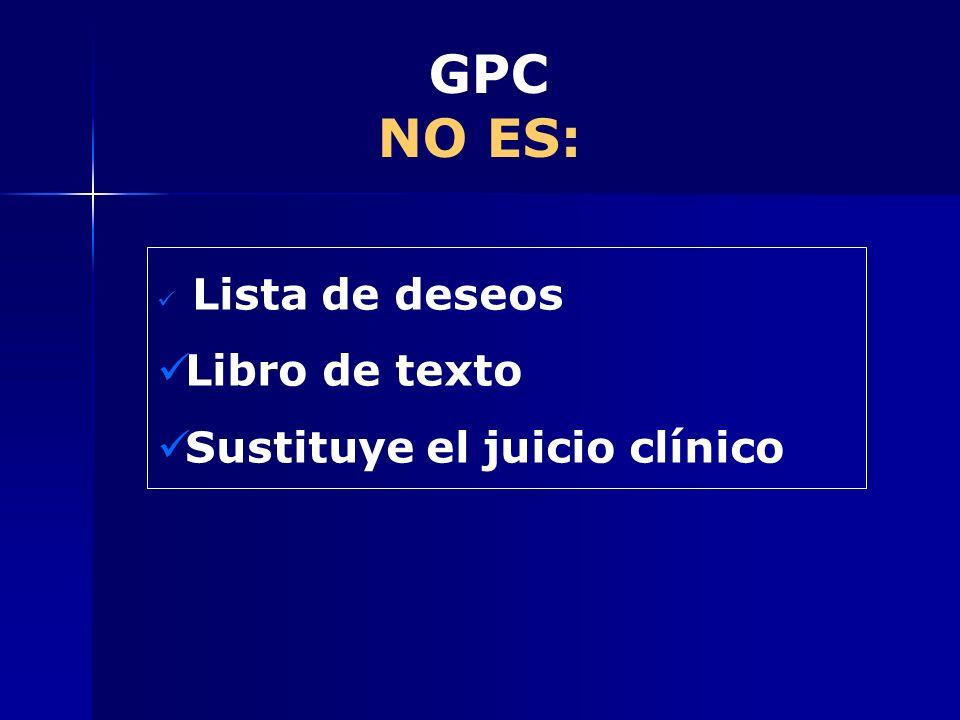 GPC NO ES: Lista de deseos Libro de texto Sustituye el juicio clínico