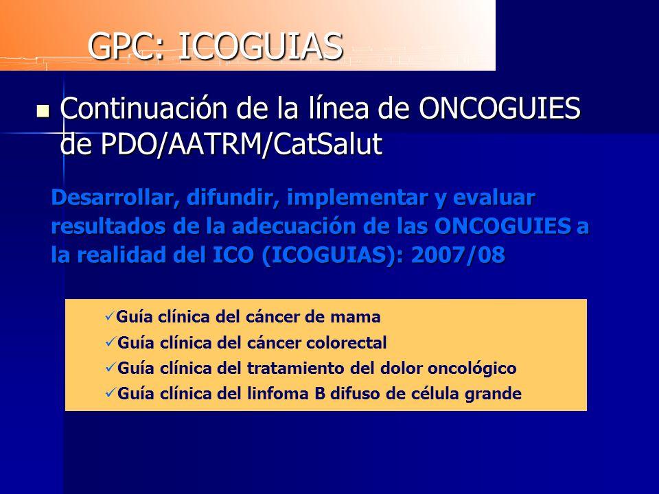 GPC: ICOGUIAS Continuación de la línea de ONCOGUIES de PDO/AATRM/CatSalut.