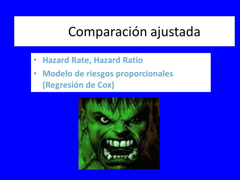 Comparación ajustada Hazard Rate, Hazard Ratio