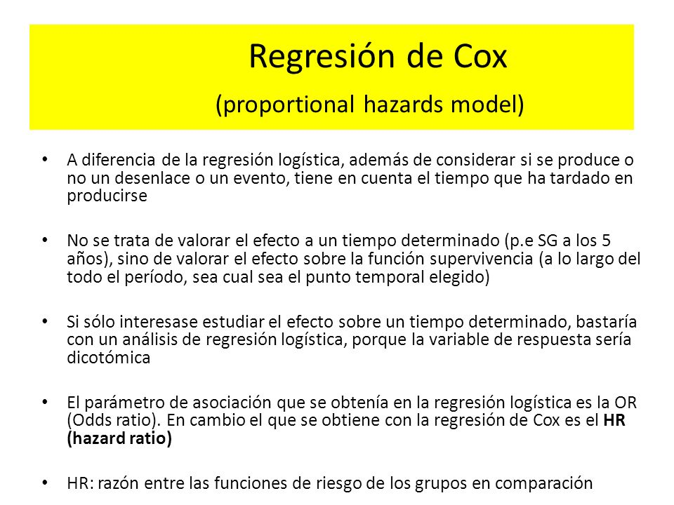 Regresión de Cox (proportional hazards model)