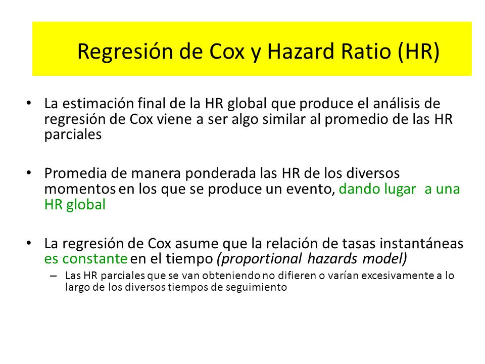 Regresión de Cox y Hazard Ratio (HR)