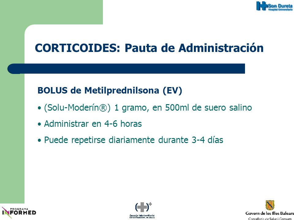 CORTICOIDES: Pauta de Administración
