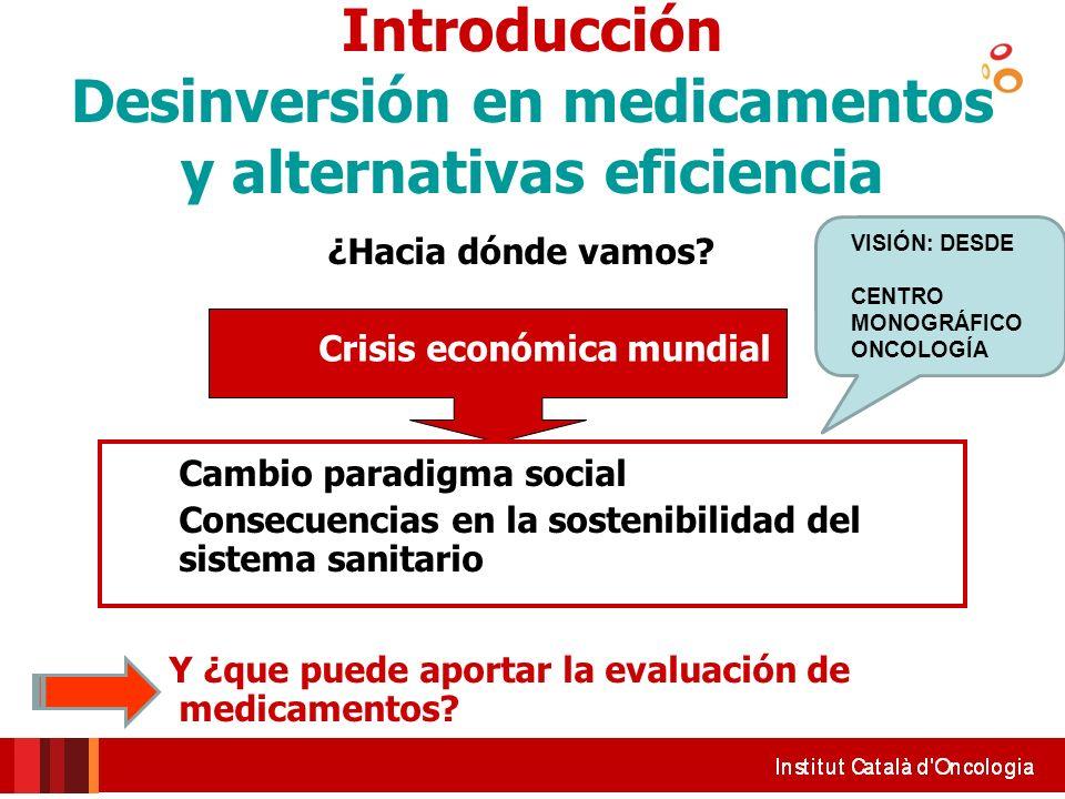 Introducción Desinversión en medicamentos y alternativas eficiencia