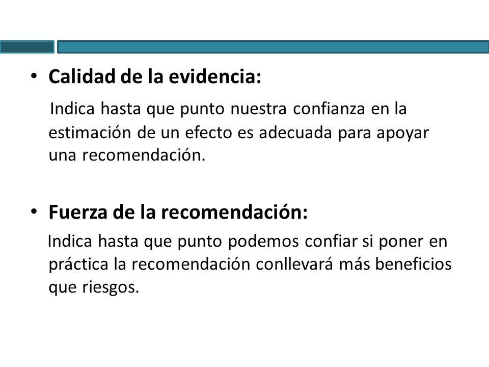 Calidad de la evidencia: