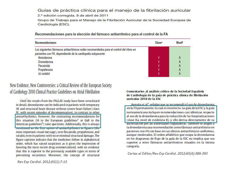 Rev Esp Cardiol. 2012;65(1):7-13 Cartas al Editor/Rev Esp Cardiol. 2012;65(4):389-393