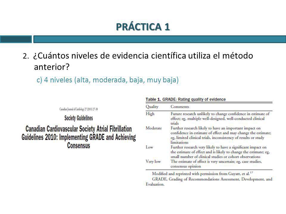 PRÁCTICA 1 2. ¿Cuántos niveles de evidencia científica utiliza el método anterior.