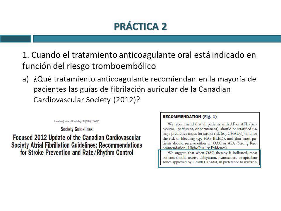 PRÁCTICA 2 1. Cuando el tratamiento anticoagulante oral está indicado en función del riesgo tromboembólico.