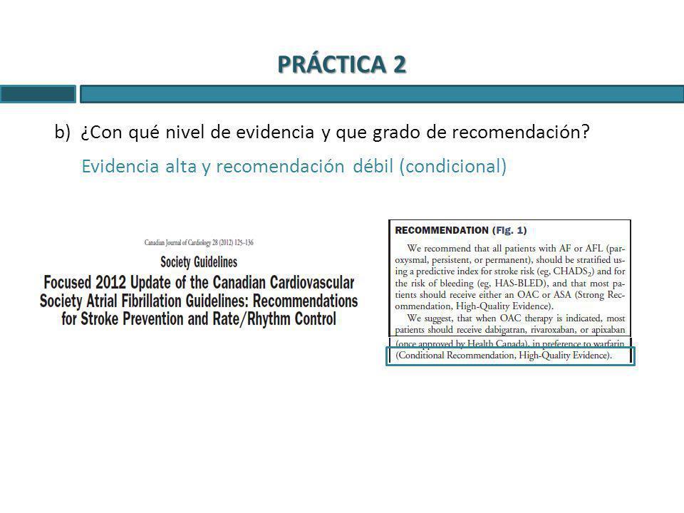 PRÁCTICA 2 ¿Con qué nivel de evidencia y que grado de recomendación