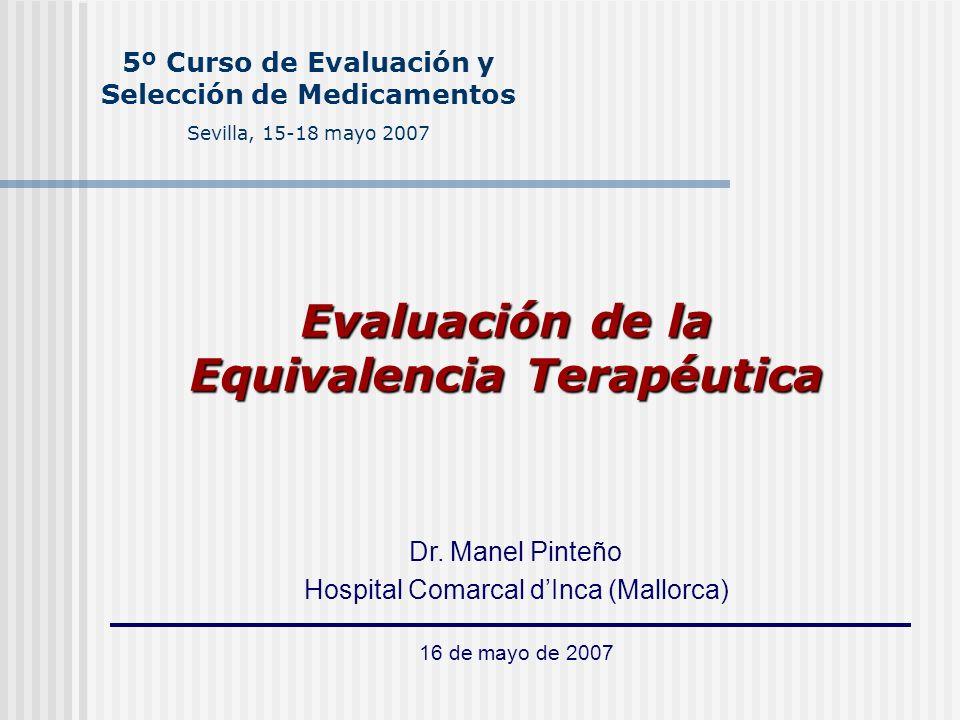 Evaluación de la Equivalencia Terapéutica