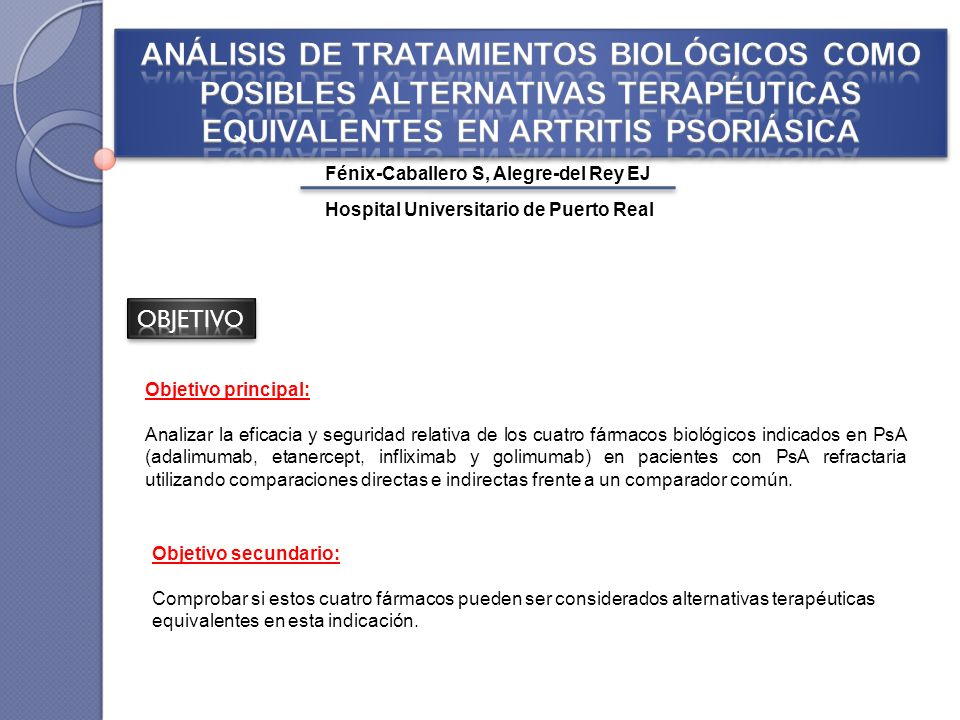 ANÁLISIS DE TRATAMIENTOS BIOLÓGICOS COMO POSIBLES ALTERNATIVAS TERAPÉUTICAS EQUIVALENTES EN ARTRITIS PSORIÁSICA