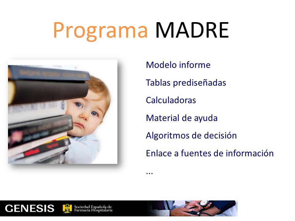 Programa MADRE Modelo informe Tablas prediseñadas Calculadoras