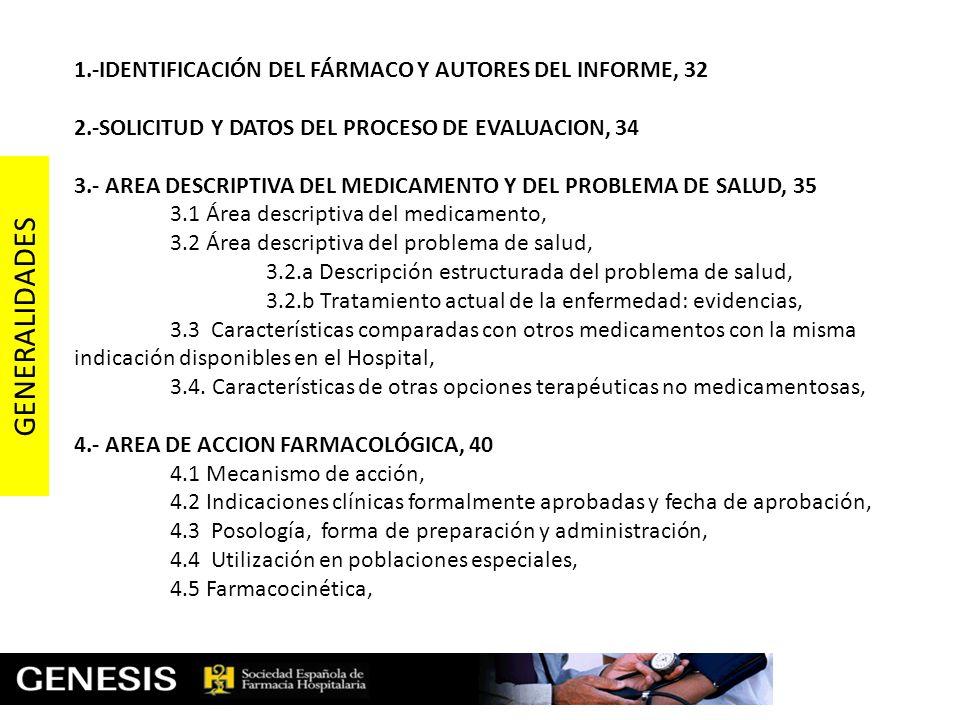 GENERALIDADES 1.-IDENTIFICACIÓN DEL FÁRMACO Y AUTORES DEL INFORME, 32
