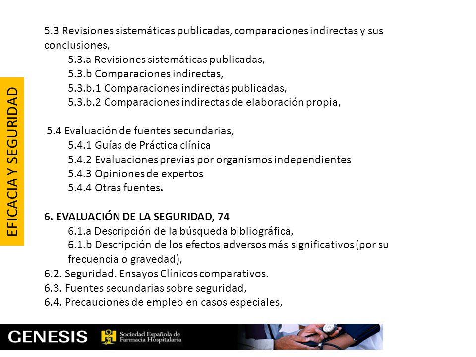 5.3 Revisiones sistemáticas publicadas, comparaciones indirectas y sus conclusiones,