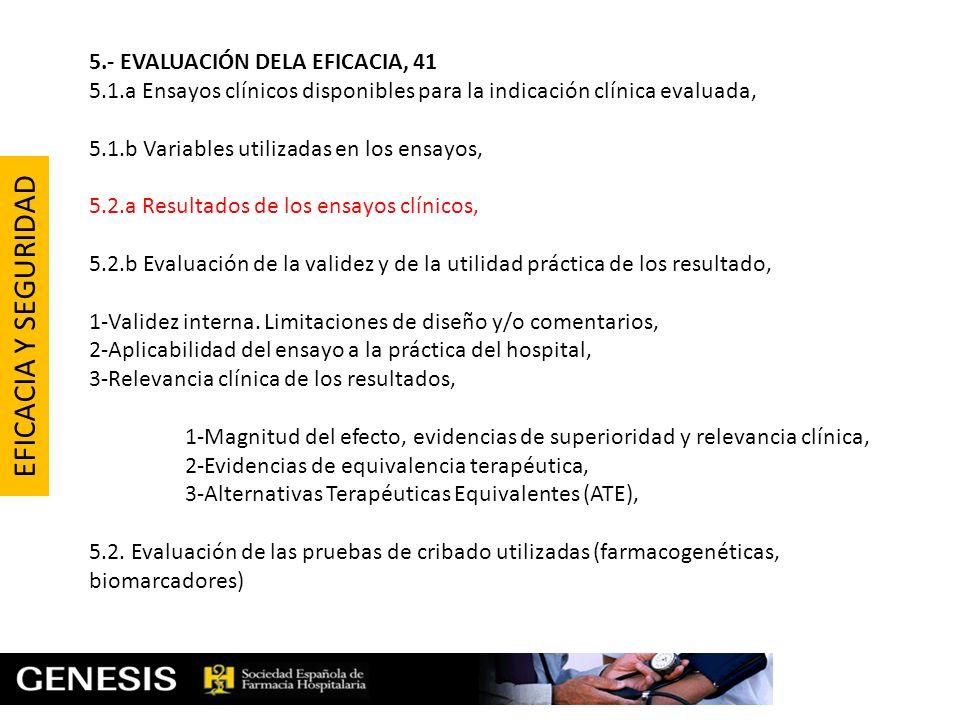 EFICACIA Y SEGURIDAD 5.- EVALUACIÓN DELA EFICACIA, 41
