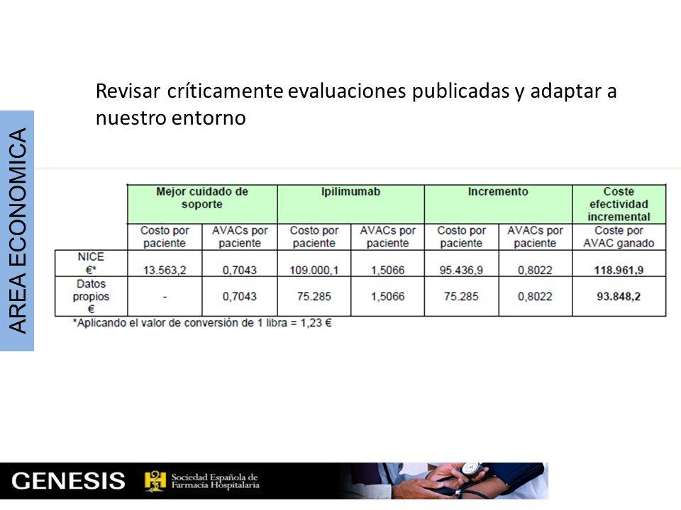 Revisar críticamente evaluaciones publicadas y adaptar a nuestro entorno