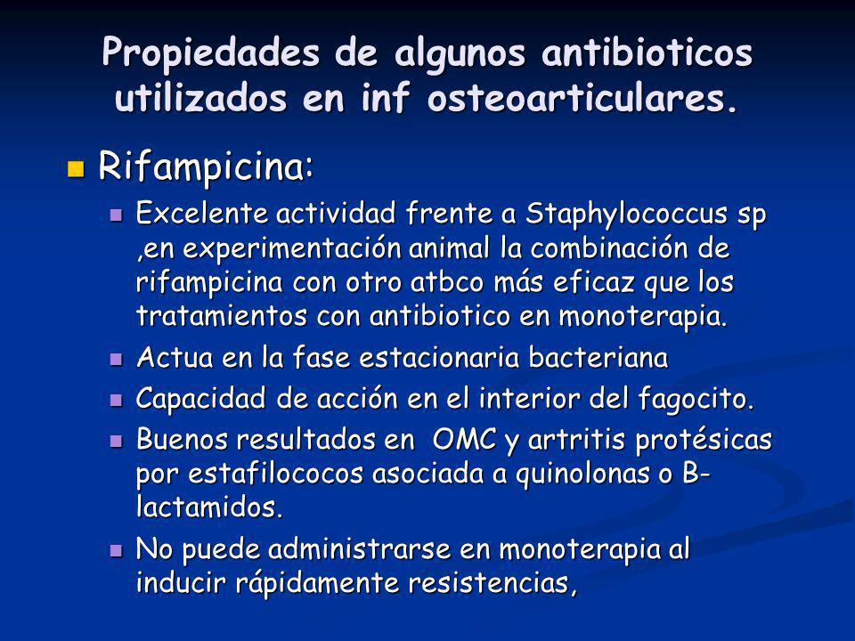 Propiedades de algunos antibioticos utilizados en inf osteoarticulares.