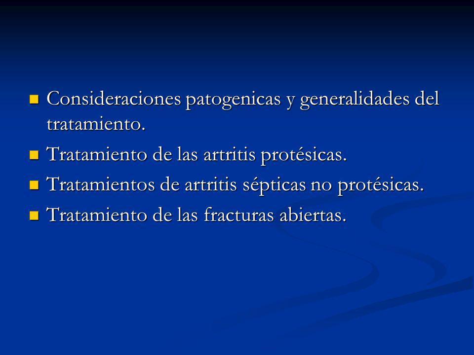 Consideraciones patogenicas y generalidades del tratamiento.