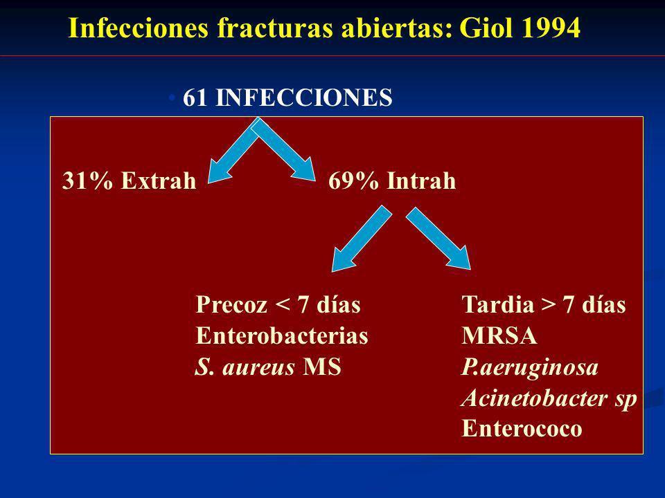 Infecciones fracturas abiertas: Giol 1994