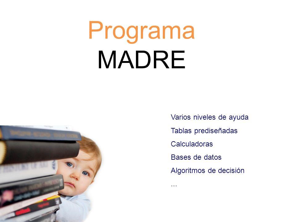 Programa MADRE Varios niveles de ayuda Tablas prediseñadas