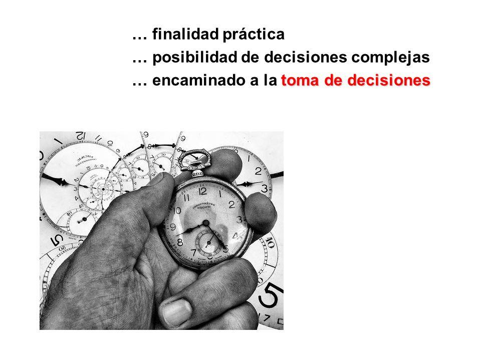 … finalidad práctica … posibilidad de decisiones complejas … encaminado a la toma de decisiones