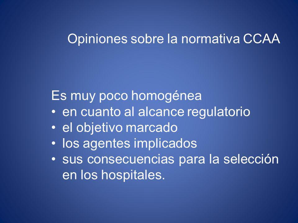 Opiniones sobre la normativa CCAA