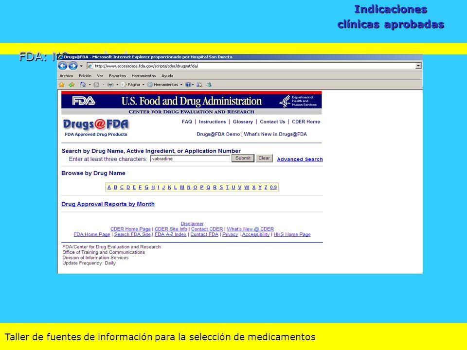 Indicaciones clínicas aprobadas FDA: NO aprobado