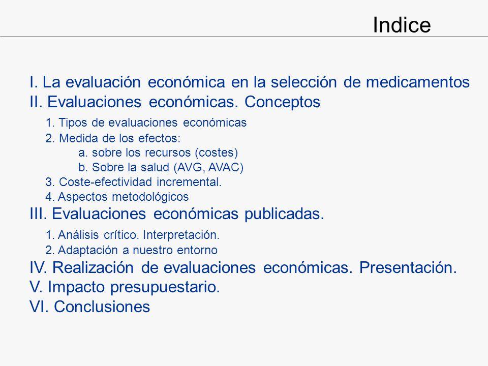 Indice I. La evaluación económica en la selección de medicamentos