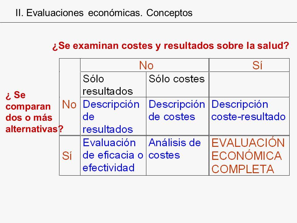 II. Evaluaciones económicas. Conceptos