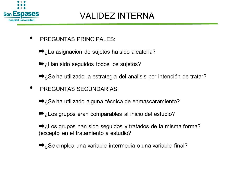 VALIDEZ INTERNA PREGUNTAS PRINCIPALES: