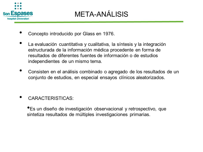 META-ANÁLISIS Concepto introducido por Glass en 1976.