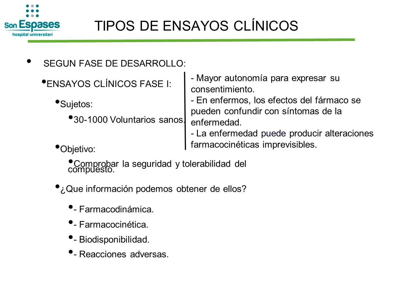 TIPOS DE ENSAYOS CLÍNICOS