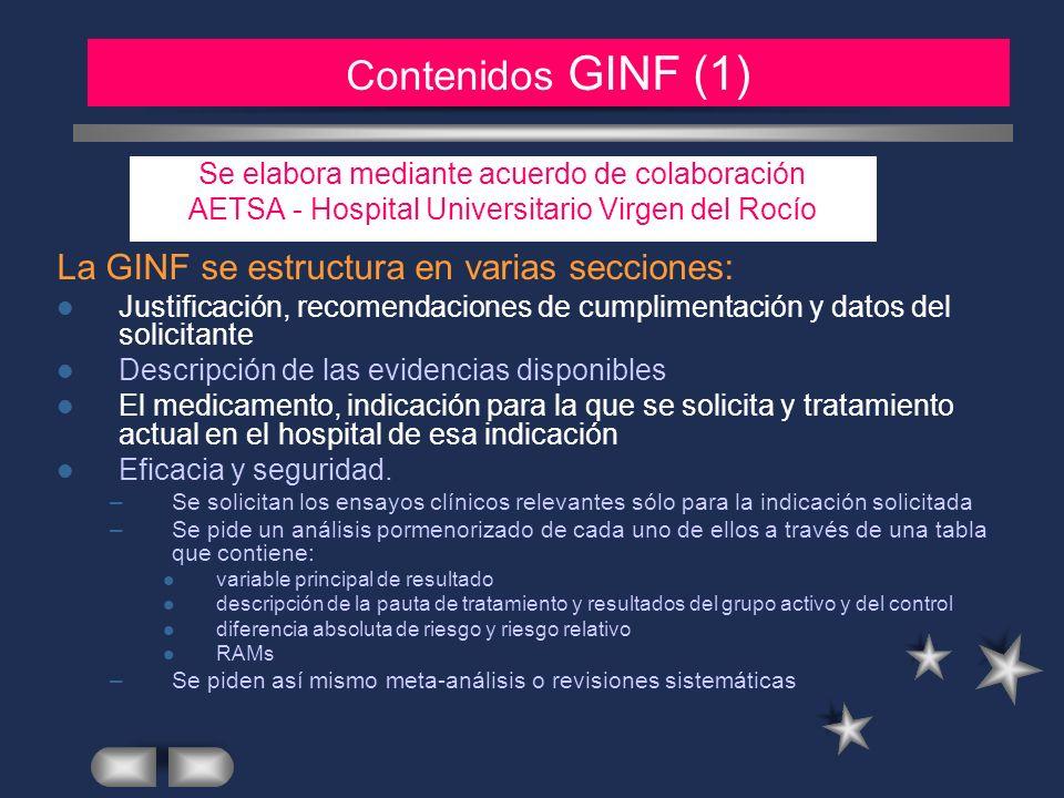MATERIAL Y METODOS (2) Contenidos GINF (1)