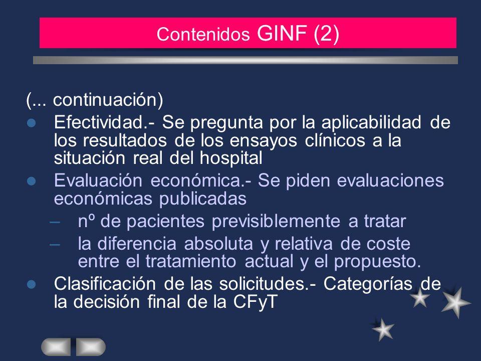 MATERIAL Y METODOS (2) Contenidos GINF (2) (... continuación)