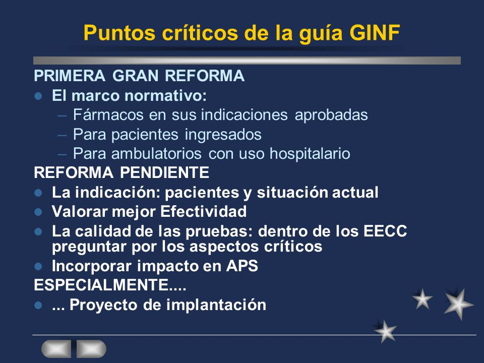 Puntos críticos de la guía GINF