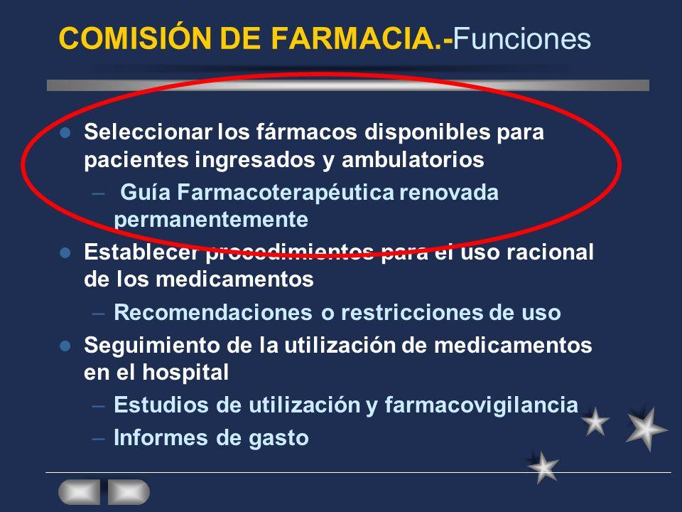 COMISIÓN DE FARMACIA.-Funciones