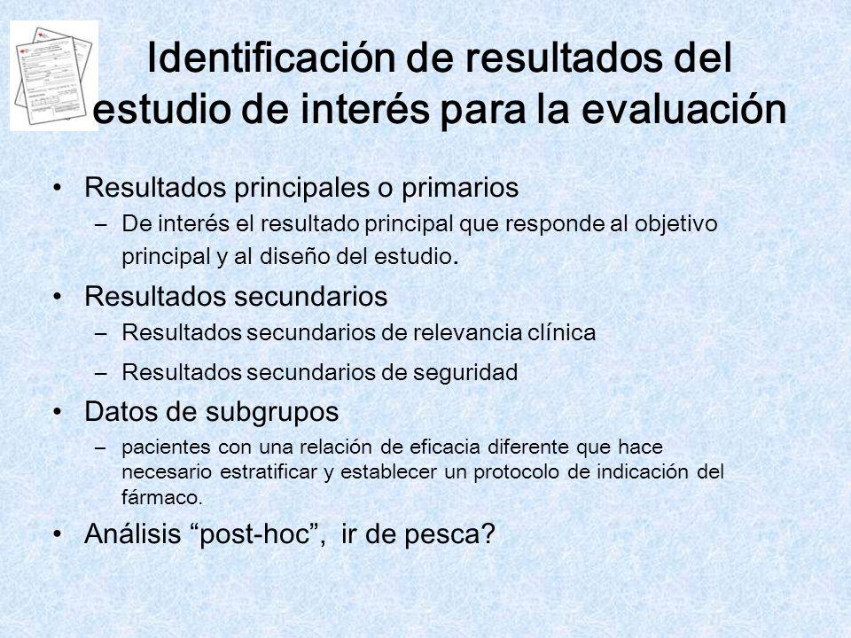 Identificación de resultados del estudio de interés para la evaluación